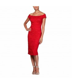 Alex Evenings Off The Shoulder Stretch Red Taffeta Dress
