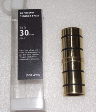 John Lewis Polished Brass Connector for 30mm Pole